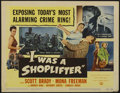 """Movie Posters:Crime, I Was a Shoplifter (Universal, 1950). Title Lobby Card (11"""" X 14"""")and Lobby Cards (4) (11"""" X 14""""). Crime. Directed by Charl...(Total: 5 Items)"""