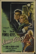 """Movie Posters:Film Noir, Johnny O'Clock (Columbia, 1947). One Sheet (27"""" X 41"""") Style B. Crime. Directed by Robert Rossen. Starring Dick Powell, Evel..."""