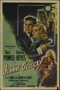 """Johnny O'Clock (Columbia, 1947). One Sheet (27"""" X 41"""") Style B. Crime. Directed by Robert Rossen. Starring Dic..."""