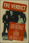 "Movie Posters:Film Noir, The Verdict (Warner Brothers, 1946). One Sheet (27"" X 41""). Crime Thriller. Directed by Don Siegel. Starring Sydney Greenstr..."