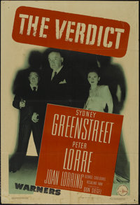 "The Verdict (Warner Brothers, 1946). One Sheet (27"" X 41""). Crime Thriller. Directed by Don Siegel. Starring S..."