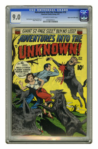 Adventures Into the Unknown #18 Mile High pedigree (ACG, 1951) CGC VF/NM 9.0 Off-white to white pages. Being attacked by...