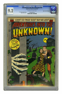 Adventures Into the Unknown #19 Mile High pedigree (ACG, 1951) CGC NM- 9.2 Off-white to white pages. This early ACG horr...