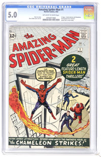 The Amazing Spider-Man #1 (Marvel, 1963) CGC VG/FN 5.0 Off-white to white pages. Spider-Man's origin is retold in the fi...
