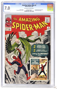 The Amazing Spider-Man #2 (Marvel, 1963) CGC FN/VF 7.0 Off-white to white pages. Spider-Man's second issue features the...