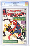 Silver Age (1956-1969):Superhero, The Amazing Spider-Man #16 (Marvel, 1964) CGC VF/NM 9.0 Off-white pages. Spidey and Daredevil battle the Ringmaster who make...