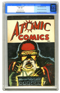 Atomic Comics #1 (Green Publishing Co., 1946) CGC VF+ 8.5 Cream to off-white pages. Jerry Siegel and Joe Shuster show up...