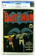 """Golden Age (1938-1955):Superhero, Batman #3 (DC, 1940) CGC VG 4.0 Cream to off-white pages. Bob Kane's cover for this issue earned Overstreet's """"classic"""" desi..."""