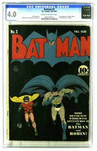 """Batman #3 (DC, 1940) CGC VG 4.0 Cream to off-white pages. Bob Kane's cover for this issue earned Overstreet's """"clas..."""