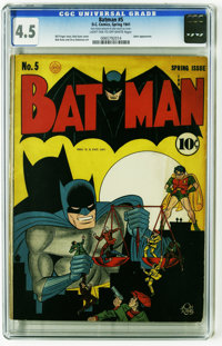 """Batman #5 (DC, 1941) CGC VG+ 4.5 Light tan to off-white pages. """"Batmobile"""" is a household word -- even your gr..."""
