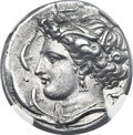Ancients:Greek, Ancients: SICULO-PUNIC. Entella. Ca. 345-315 BC. AR tetradrachm (26mm, 16.93 gm, 8h). ...