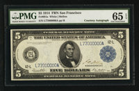 Fr. 891a $5 1914 Federal Reserve Note Courtesy Autograph PMG Gem Uncirculated 65 EPQ