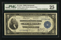 Fr. 760 $2 1918 Federal Reserve Bank Note Double Courtesy Autograph PMG Very Fine 25