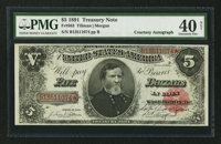 Fr. 363 $5 1891 Treasury Note Courtesy Autograph PMG Extremely Fine 40 Net