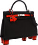 Hermes One-of-a-Kind 32cm Matte Geranium Porosus Crocodile & Black Togo Leather Sellier Kelly Bag with Feet