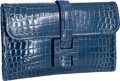 Luxury Accessories:Bags, Hermes Shiny Blue Roi Nilo Crocodile Jige PM H Clutch Bag. ...