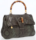 Luxury Accessories:Bags, Gucci Classic Olive Snakeskin Double Gusseted Heritage CollectionBag with Bamboo Top Handle. ...