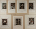 "Books:Prints & Leaves, [English Nobility] Lot of Seven Colored Lithographs of English Nobility. Matted to an overall size of 10"" x 12"". Engraved af..."