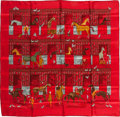 "Luxury Accessories:Accessories, Hermes Red & Brown ""Les Boxes,"" by Jean-Louis Clerc Silk Scarf...."