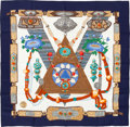 """Luxury Accessories:Accessories, Hermes Navy & White """"Tibet,"""" by Caty Latham Silk Scarf. ..."""