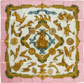 "Luxury Accessories:Accessories, Hermes Pink, Gold & Cream ""Les Parures du Vent,"" by JoachimMetz Silk Scarf. ..."