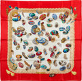 "Luxury Accessories:Accessories, Hermes Red, Blue & Cream ""Couvee d'Hermes,"" by Caty Latham SilkScarf. ..."