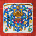 """Luxury Accessories:Accessories, Hermes Red, Gold & Blue """"Reveries Japonaises,"""" by Caty LathamSilk Scarf. ..."""