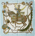 "Luxury Accessories:Accessories, Hermes Light Blue, Olive & White ""Le Timbalier,"" by FrançoiseHeron Silk Scarf. ..."
