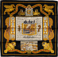 "Luxury Accessories:Accessories, Hermes Black & Gold ""Salzburg,"" by Loic Dubigeon Silk Scarf...."
