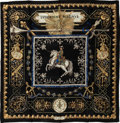 """Luxury Accessories:Accessories, Hermes Black, Gold & Navy """"Ludovicus Magnus,"""" by Francoise dela Perriere Silk Scarf. ..."""