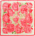 "Luxury Accessories:Accessories, Hermes Pink, Green, & Cream ""Les Pivoines"" by Christiane Vauzelles Silk Scarf. ..."