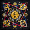 "Luxury Accessories:Accessories, Hermes Black, Gold & Red ""Daimyo Princes du Soleil Levant,"" byFrancoise Heron Silk Scarf. ..."