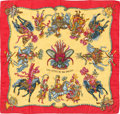 "Luxury Accessories:Accessories, Hermes Chartreuse & Red ""Les Fetes du Roi Soleil,"" by MicheleDuchene Silk Scarf. ..."