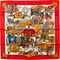 "Luxury Accessories:Accessories, Hermes Red, Blue & Gold ""Automobile"" by Joachim Metz Silk Scarf. ..."