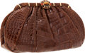 Luxury Accessories:Bags, Judith Leiber Honey Crocodile Clutch Bag with Gold Jeweled Clasp& Shoulder Strap. ...