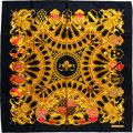 "Luxury Accessories:Accessories, Hermes Black, Gold, & Pink ""British Heraldry"" by VladimirRybaltchenko Silk Scarf. ..."