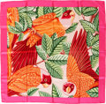 "Luxury Accessories:Accessories, Hermes Pink, Green & Yellow ""Les Perroquets (detail)"" byJoachim Metz Silk Scarf. ..."