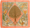 """Luxury Accessories:Accessories, Hermes Peach & Green """"Axis Mundi"""" by Christine Henry Silk Scarf. ..."""
