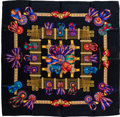 "Luxury Accessories:Accessories, Hermes Black, Gold, & Blue ""Led Rubans du Cheval"" by Joachim Metz Silk Scarf. ..."
