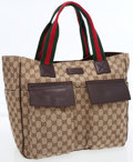 Luxury Accessories:Bags, Gucci Classic Monogram Canvas Tote Bag with Web Stripe Handles. ...