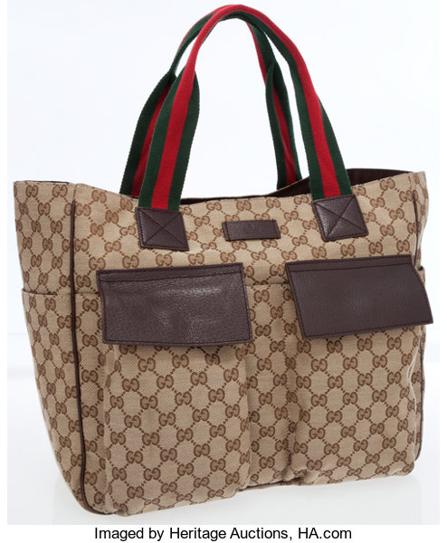 61c3f2424ac8ac Luxury Accessories:Bags, Gucci Classic Monogram Canvas Tote Bag with Web  Stripe Handles.