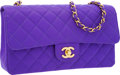 Luxury Accessories:Bags, Chanel Purple Quilted Microfiber Classic Medium Single Flap Bag....