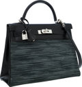 Luxury Accessories:Bags, Hermes Limited Edition 32cm Black Calf Box Leather & VibratoRetourne Kelly Bag with Palladium Hardware. ...