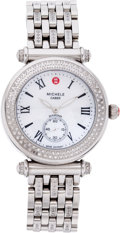 Luxury Accessories:Accessories, Michele Diamond & Stainless Steel Caber Wrist Watch withDiamond Band. ...