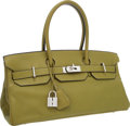 Luxury Accessories:Bags, Hermes 42cm Vert Chartreuse Clemence Leather JPG Shoulder BirkinBag with Palladium Hardware. ...