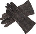 Luxury Accessories:Accessories, Hermes Ebene Agneau Leather Gloves. ...