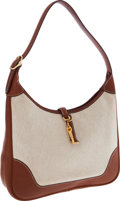 Luxury Accessories:Bags, Hermes 31cm Barenia Leather & Toile Trim II Bag with GoldHardware. ...
