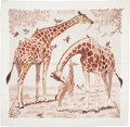"Luxury Accessories:Accessories, Hermes Cream & Brown ""Les Girafes,"" by Robert Dallet Cashmere Scarf. ..."