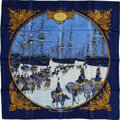 "Luxury Accessories:Accessories, Hermes Navy, Gold & Sky Blue ""Marine et Cavalerie,"" by PhilippeLedoux Silk Scarf. ..."