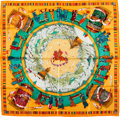 "Luxury Accessories:Accessories, Hermes Orange & Green ""Prieres au Vent,"" by DimitriRybaltchenko Silk Scarf. ..."